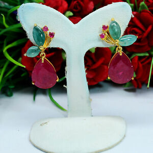NATURAL 10 X 13 mm. PEAR RED RUBY, EMERALD & SAPPHIRE EARRINGS 925 925 SILVER