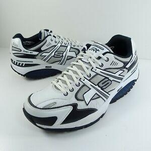 Skechers Shape Ups SRT Mens 11 Shoes Walking Toning SN 52041 White Blue Leather