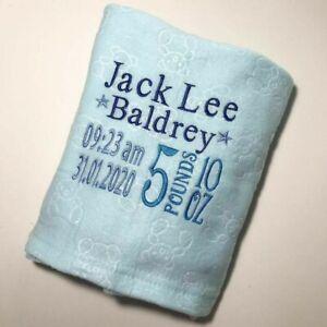 Personalised Embroidered Baby Fleece Blanket newborn baby boy gift