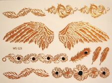 3D Metallic Tattoos Color Gold Black Temporary Jewelry Body Art 123 US SELLER
