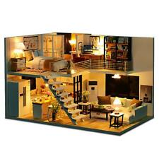 DIY Loft Apartments Dollhouse Wooden Furniture LED Kit Christmas Birthday Gifts