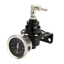 Car Auto Adjustable Fuel Pressure Regulator With Filled Oil Gauge Black New 15H9