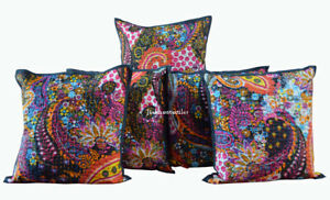 Kantha Work Indian Pillow Cushion Cover Ethnic Paisley Print Home Decor Set Of 5