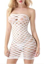 PLUS SIZE Fishnet Mini Dress #21 WHITE One Size fits most Big Tall Sexy LINGERIE