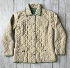 Connoisseur Sz S Tan Quilted Reversible Barn Jacket Coat Equestrian Horse Shoe