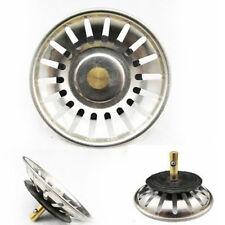 Stainless Steel Grips Kitchen Sink Strainer Drain Basket Stopper Sliver