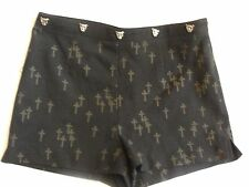 Size 3 BCNU Black Short Mini Shorts with Crosses CUTE