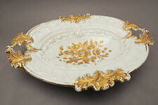 Old Meissen Ceremonial Bowl Floral Decoration with Gold Painting Oval
