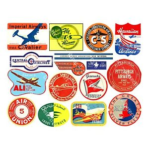 Airline Luggage Labels & Baggage Tags, Suitcase Decals, 1 Sheet, REPRODUCTIONS