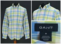 Mens GANT Princeton Oxford Shirt Long Sleeve Check Pocket Blue Green Size M