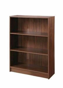 3 Tier Bookcase Wide Display Shelving Storage Unit Wood Furniture Walnut