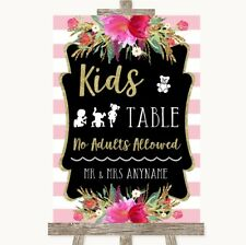 Wedding Sign Poster Print Gold & Pink Stripes Kids Table