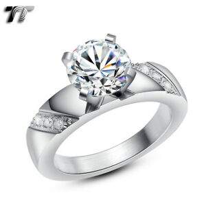 TT Polished Stainless Steel 2 Ct Engagement Wedding Band Ring (R307S)