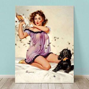 "VINTAGE Pin-up Girl CANVAS PRINT Gil Elvgren  8x12"" Ticklish Pillow Fight Dog"