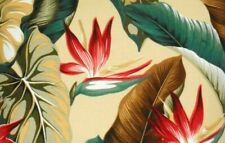 Tropical Hawaiian Cotton Barkcloth Fabric CORDED BOLSTER PILLOW ~Bird/Paradise~