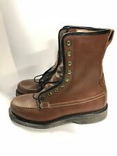 Vintage Hanover Brown Leather Mens Work Boots Size 8