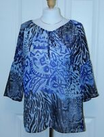 SUSAN GRAVER Size XS Blue Silver Black 3/4 Sleeve Peasant Tunic Blouse