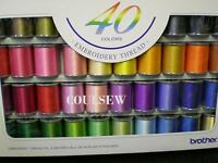 BROTHER MACHINE EMBROIDERY THREADS BOX GIFT SET 40 COLOURS Part No XG6641001