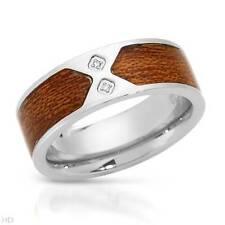 SIMMONS/SHR Gentlemens Band Ring With Genuine Clean Diamond in Brown Enamel