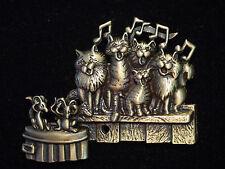 """JJ"" Jonette Jewelry Bronze Pewter 'CAT CHOIR' Pin ~ Beautiful MUSIC"