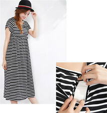 Maternity Striped Dress Summer Breastfeeding Nursing Long Dress