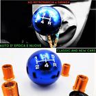 POMELLO Universale Leva Cambio BLU Auto Nuove e Epoca 5 MARCE in Acciaio INOX