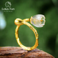 Lotus Fun Natural Crystal Flower Ring Real 925 Silver 18k Gold Jewelry for Women