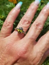 Spring Olive Green Peridot Solitaire w/accents ring, sterling silver, size 7