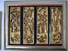 Chinesische Holzschnitzerei, 4 Paneele im Rahmen, Goldfarben