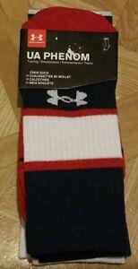 Under Armour UA Phenom Crew Socks 3 Pair Training Men's Red/White/Navy Brand New