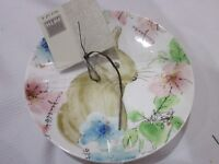 222 FIFTH Bastia Easter Bunny Rabbit Appetizer Plates Set of 4