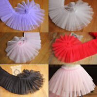 1Yard Gauze Pleated Edge Trim Ruffle Lace Ribbon Skirt Doll Wedding 3.94'' Width