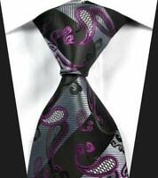 Hot Classic Paisley Gray Purple Black JACQUARD WOVEN 100% Silk Men's Tie Necktie