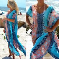Womens Floral Beach Swimwear Long Maxi Dress Kaftan Bikini Cover Up Chiffon Pop
