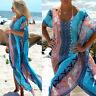 Damen Chiffon Strandkleid Bikini Cover-up Badekleid Sommer Maxi Partykleid pop