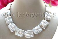 "18"" Genuine Natural 20x25mm White Baroque Reborn Keshi Pearl Necklace 14k #f3320"