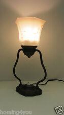 Jugendstil Fensterbank Lampe Nachttischl Leuchte Tischlampe Glas Messing