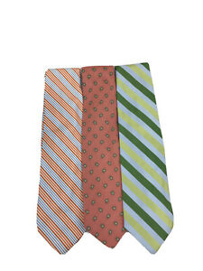 Brooks Brothers Multi-Colored Silk Blend Neck Tie's Lot of 3