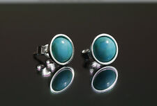 925 Sterling silver stud earrings with 5mm natural Turquoise cabochons