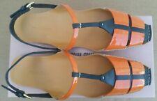 MIU MIU Orange & Black Women's Leather Flat Sandals