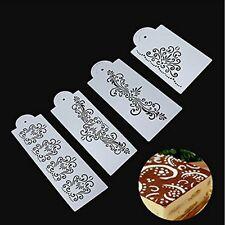 4PCS  Kitchen Cookie Fondant Damask Lace Flower Cake Border Stencil Mould
