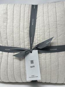 New~West Elm European Flax Linen Linework Quilt~KING~Natural Flax