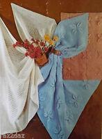 Baby Cot/ Pram Blanket/Cover & Shawl Vintage Knitting Pattern DK/4 & 3 Ply S3266