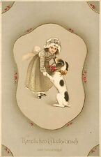 German Embossed Chromograph Art Postcard; Little Girl w/ Black & Tan Puppy Dog