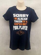 "Womens T-Shirt Navy Blue Size Medium NEW!!! ""Super Hot Pool Player"""