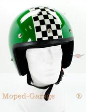 Mofa Moped Mokick Roller Motorrad Retro Jet Helm Race Grün Ziel Flagge Gr. S