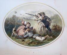 Lithographie, Chasse en automne, Régnier, Bettanier et Morlon,  1860