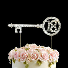 Diamante Rhinestone Gem Cake Topper Birthdays Anniversary Silver Numbers-18 key