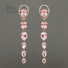 Rhodium Plated Pink Crystal Rhinestone Chandelier Long Drop Dangle Earrings 1394