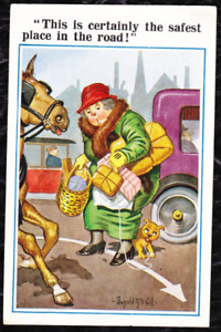 "Donald McGill Postcard, No 5737 ""This is the safest place on the road"" -POSTED"